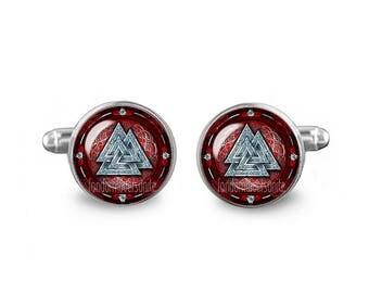 Valknut Cuff Links Vikings Cuff Links 16mm Cufflinks Gift for Men Groomsmen Odins Knot Fandom Jewelry