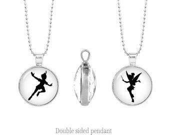 Peter Pan and Tinkerbell Double Sided Pendant Chain Peter Pan Two Sided Pendant Necklace