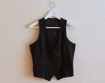Black Vest Black Women Vest Black Women's Vest Women Steampunk Vest Fitted Waistcoat Medium  Size