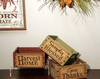 ESE Wood Crate for fall thanksgiving harvest Wood crate with sunflowers pick