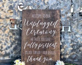 Unplugged Ceremony Sign - Unplugged Wedding Sign - Rustic Wedding Sign - Wedding Signs - Woodsy Wedding - Wedding Unplugged