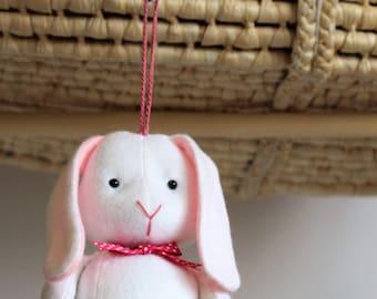 Baby Bunny Rattle Toy - Pram Crib Toy - Nursery Bedroom decor - Handmade