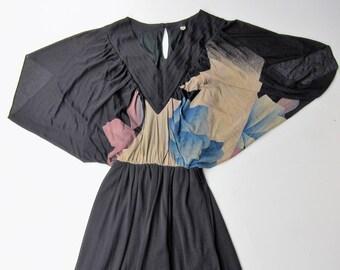 Kimono dress floral vintage 1970's 1980 Japan