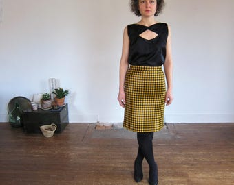 S 90 feet of yellow mustard Vintage wool Houndstooth skirt S / / Retro 1990 M