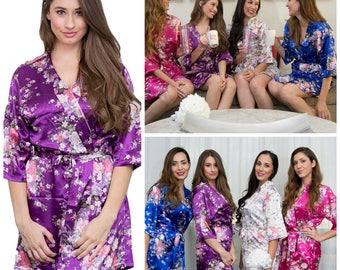Bridal Shower Silk Satin Spa Robe For Bride And Bridesmaid Mother Of The Bride Maid Of Honor Spa Wedding Gift Red,blue,white,black,purple