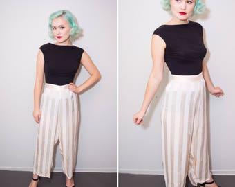 1930's Cream Striped Silk Pajama Pants | Wide Leg High Waisted Lounge Pants | Size XL