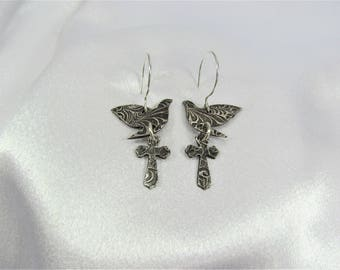 "Item 4185 - ""Dove & Cross"" Collection - 999 Fine and 925 Sterling Silver Hand sculpted carved textured Lightweight Dove and Cross Earrings"
