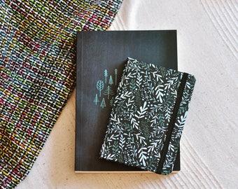 Blue floral BLACK PAPER Journal, Hardcover Notebook with black paper, botanical blue pattern  pocket size black sketchbook