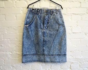 Blue Vintage Skirt Denim Skirt Denim Knee Skirt Acid Washed Jeans Skirt High Waisted Large to Extra Large Size Skirts