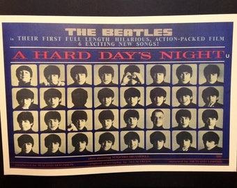 The Beatles Hard Days Night Vintage Movie Poster Reproduction // John Lennon // Paul McCartney // George Harrison // Ringo Starr // 1960s