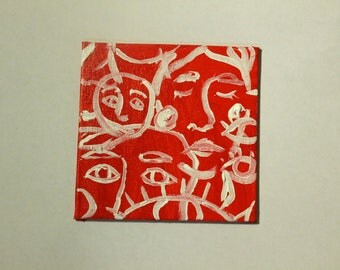 Small red abstract figure painting