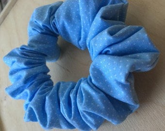 Blue and White Polka Dot Scrunchie