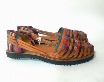 Guatemalan Huarache Sandals~Textile Leather Huaraches~Leather Slip On Sandals in Sand~Hand Woven~Hand Stitched~Foam Sole~Guatemala~Artisan