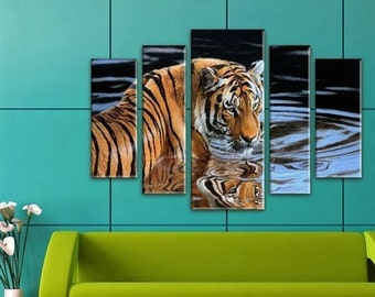 Lion Wall Art, Large Canvas art, Interior Art, Room Decoration, Photo gift, Extra Large Wall decor 4 Panel Canvas, Photo Print on Canvas,