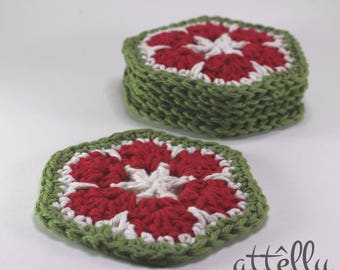 Christmas Coasters Crochet / Set of Coasters / Flower Coasters / Housewarming Gift