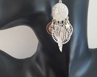 "Dangle pierced earrings ""Butterfly"" white"