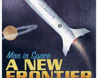 Retro Rocket Poster