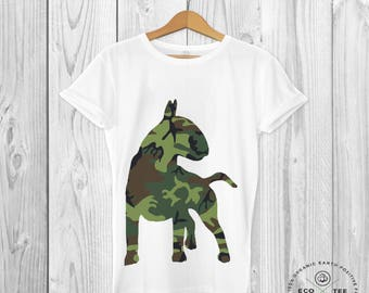 Bull Terrier Shirt - Dog Shirt - Camouflage T-shirt - Dog Lovers - Graphic Tee - Graphic Tshirt - Organic - Vegan - Fairtrade