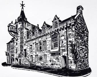 Original Linocut Print - Tolbooth, Royal Mile, Edinburgh