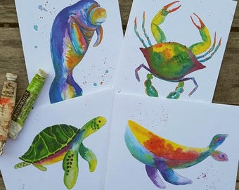 Card Packs - Sea Animals - Crab - Manatee - Whale - Turtle
