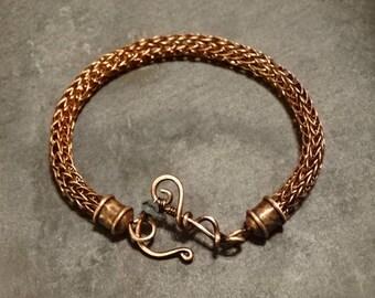 Viking Knit Bracelet Ornate Jade Clasp