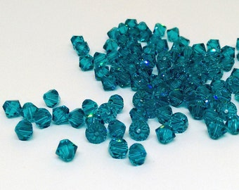 6mm Blue Zircon Bead, Swarovski Xilion Bicone, 5328 Bead, Jewelry Supplies, Swarovski Elements, Diy Jewelry, Turquoise Beads, YC8196