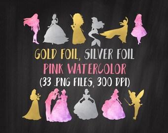 Princess Silhouettes Clipart, Gold Disney Princess Clipart, Sleeping Beauty, Cinderella, Tinkerbell, Merida, Ariel, Elsa, Alice, Belle