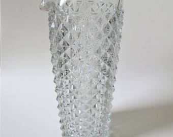 Vintage Barware Mixing Glass, Decanter in Heavy Cut Glass with Diamond Cut Pattern