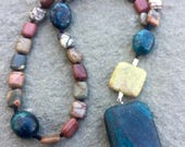 Anglican Rosary/ Protestant Rosary- Picasso jasper and blue and yellow turquoise prayer beads with turquoise pendant