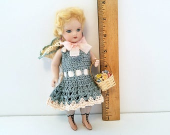 All Bisque Mignonette Reproduction Antique Doll/ Repro French Doll with Blonde Hair/ Bisque Dollhouse Doll/ Vintage Bisque Doll
