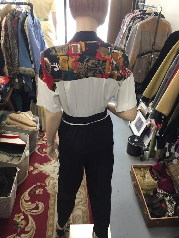Vintage 1990s  Southwest Print Jumpsuit with Belt Sz 8
