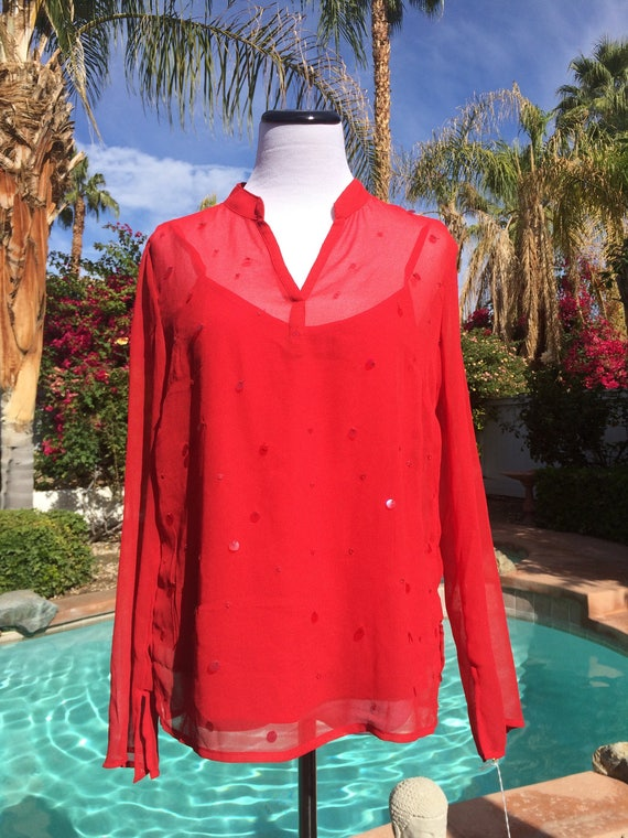 Red Sheer Blouse with Built in Camisole with a Sprinkling of Sequins,Size Medium.