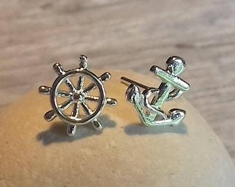 Cute Asymmetrical Anchor Helm Studs 925 Sterling Silver Stud Earrings   Womens Girls Nautical Seaside Sailor Jewelry Jewellery Birthday Gift