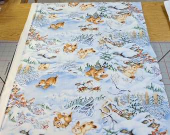 Quiet Bunny and Noisy Puppy-All Over Print Cotton Fabric from Wilmington Prints
