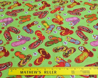 Flip Flop Island-Green Cotton Fabric from Exclusively Quilters