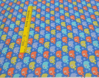 Mini Elephants on Blue Cotton Flannel Fabric from Michael Miller Fabrics