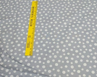 White Dots on Gray Cotton Fabric