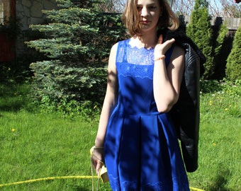 Milady. dress, short dress, celebration dress, beautiful dress, blue dress, with lace dress