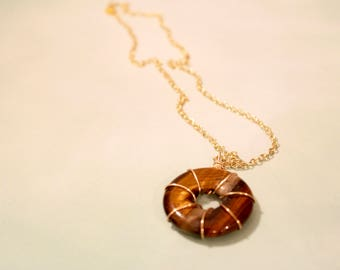 Amber Wire Wrapped Pendant Necklace