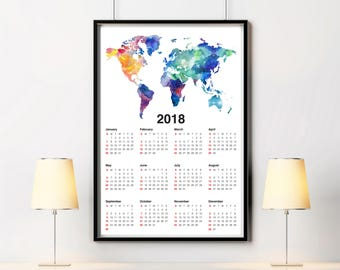 Map calendar 2018 etsy wall calendar 2018 world map print wanderlust gift world map calendar large 20x30 travel gift calendar gumiabroncs