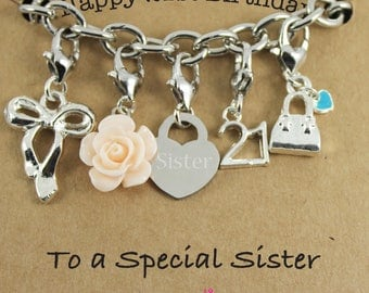 Happy 21st Birthday Rose Lucky Charm Bracelet Gift for Bestie, Sister, Niece, Princess.