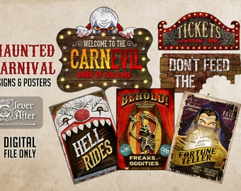 Haunted Carnival Signs Halloween Vintage Circus Printable Posters Evil Scary Clown Carnevil Props Horror Funhouse sign freak show entrance