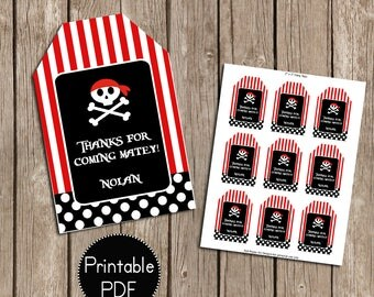 Pirate Birthday Party Favor Tags- Printable, DIY