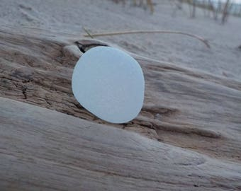 """Genuine White Thick Sea Glass piece -Flawless Sea Glass -Size 1.1""""-Jewelry Quality- Perfect pendant-Ring size-#J213#"""
