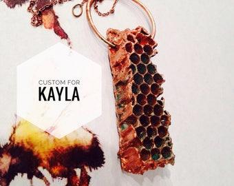 Custom Copper Honeycomb Pendant for Kayla