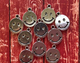10 Antique Silver Tibetan Style  17 mm / 1.7 cm / .66 in. Smiley Face / Happy Face Charms / Pendants  - Free Shipping