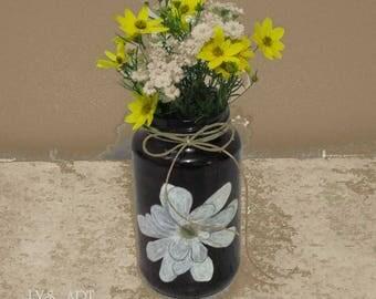 Magnolia Vase Glass Black Plum Color