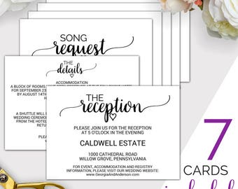 7 Printable Wedding Enclosure Cards: Wedding Details Card, Reception Cards, Wedding Wishing Well, Wedding Registry Cards, Song Request K008