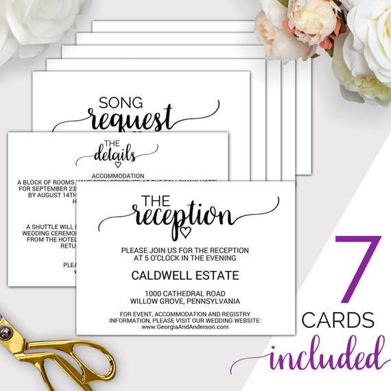 7 printable wedding enclosure cards wedding details card reception