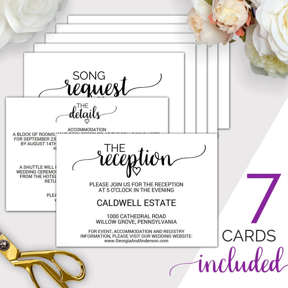 Wedding Invite Enclosures: 7 Printable Wedding Enclosure Cards: Wedding Details Card